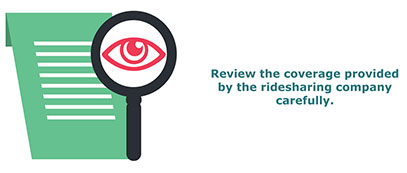 Review the coverage provided by the ridesharing company carefully